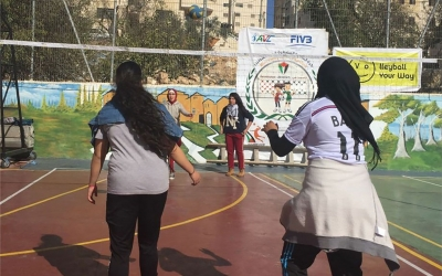 Mini Volleyball Festival for girls held in Palestine